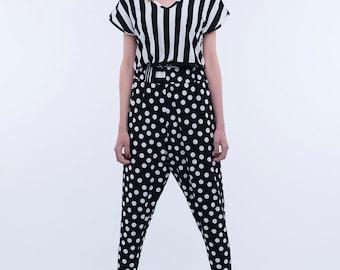 Pois and stripes jumpsuit/Summer jumpsuit/Women jumpsuit/Black viscose jumpsuit/White viscose jumpsuit/Pois and stripes viscose jumpsuit