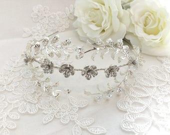 Custom Myrtle Crown, Myrtle Tiara, Silver Plated Leaf Tiara, Antique German Tiara, Vintage Bridal Crown, vintage tiara, flower crown GD1721