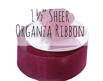 "1 1/2"" Burgundy Ribbon, 1.5 Inch Ribbon, Dark Red Sheer Organza Ribbon, Burgundy Red Gift Ribbon, Gift Wrap, Wedding Supplies, Decoration"