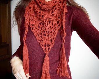 Scarf/shawl crocheted - rust