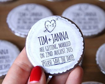 WOODLAND (white) design - Save the Date 58mm Magnets