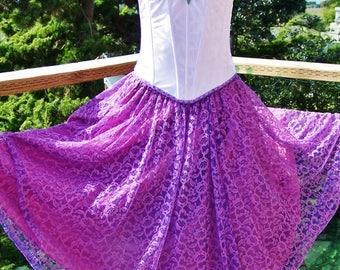 Corset Dress, Strapless, Gypsy, Lace dress, Violet, size S