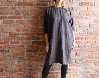 Linen Tunic Dress  , Oversized Tunic,Charcoal Gray Plus size tunic, loose linen tunics for women , Handmade