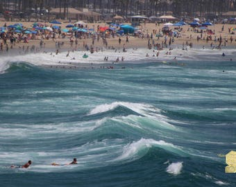 Huntington Beach Scene Summer 2017-3 Pacific Ocean Photograph Prints up to 16x24, Postcards, Coffee Mug, Throw Pillow Christmas Gift