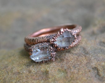 Unique Engagement Ring, Herkimer Diamond Ring, Copper Electroformed Ring, Raw Crystal Ring, Copper Rings, Natural Stone Rings, Wedding Ring