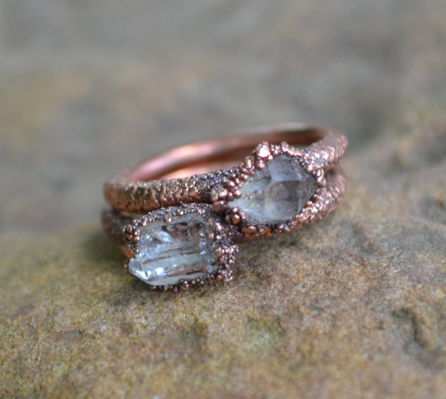 Unique Engagement Ring Herkimer Diamond Ring Copper