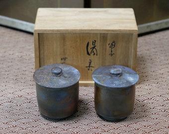 Vintage Bizen, Japanese Tea Cups, Pottery, Ware, Tokeido Momoyama Kiln, Momoyama Kumura, Free Shipping by Registered: TC-052405