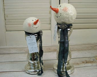 Original Hand Sculpted Snowman  Ornament Vintage Mercury Glass Mixed Media Assemblage