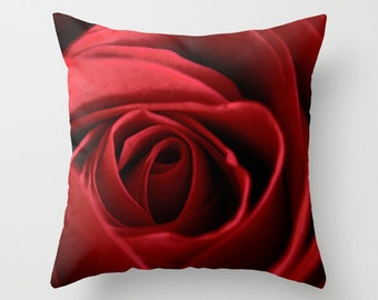 Rose Pillow Cover, Red Romantic Bedroom Decor, Decorative Throw Cushion Case, Handmade in Canada, Living Room Couch Accent, Valentine's Day