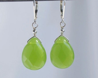 Lime Green Quartz Teardrop Earring