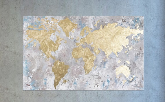 World map map of the world gold leaf painting world map world map map of the world gold leaf painting world map wall art office decor world map canvas gold foil art large painting gold gumiabroncs Gallery