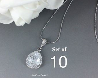 Set of 10 Necklace Bridesmaid Jewelry Cubic Zirconia Jewelry Gift for Maid of Honor Crystal Necklace Bridesmaid Gift for Her Wedding Jewelry