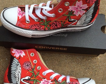 Converse High Top Custom Sneakers Painted Japanese Garden Tattoo Art on Chucks Cherry Blossoms, Peonies, Storks for Hipster Birthday Present