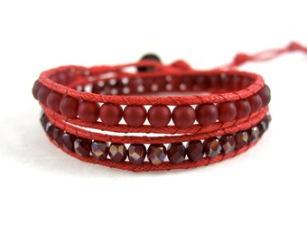Red Wrap Bracelet, Ruby Red Bracelet, Boho Bracelet, Red Cotton Wrap Bracelet, Vegan Jewelry