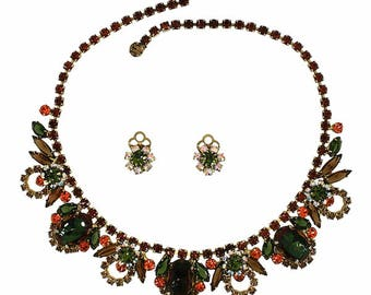 Juliana by Delizza and Elster 1960s Vintage Necklace and Earrings Set
