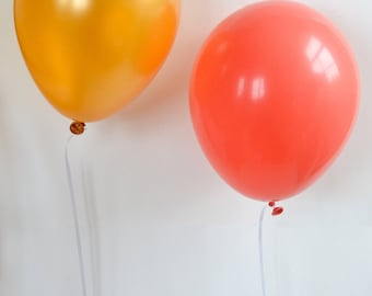 Balloons, Gold and Coral, Party Decorations, Wedding, Birthday, Bridal Shower, Engagement Party, Latex Balloons NEW!