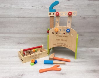 2 in 1 deluxe Personalised Tool Box and Workbench wooden Toy, gift for him, gift for her