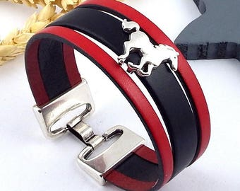 Red and black leather bracelet tutorial Kit passing horse silver plated