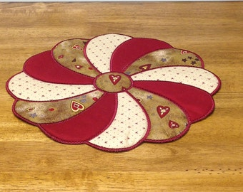 Country style valentines day candle mat