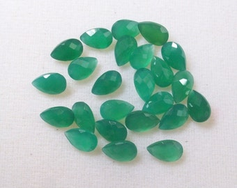 6x10mm GREEN ONYX Faceted Pear checker cut faceted gemstone....