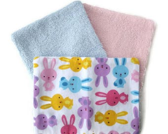 Washable wipes - wipes for baby BUNNIES - blue yellow pink purple white