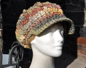 Multi-Colored Newsboy Hat - Crocheted Hat in Wool Acrylic Blend - Women's Hat with Brim - Chunky Knits - Winter Accessories - Winter Hat