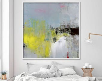 """large print of abstract painting Giclee print, modern, up to 40x40"""", Abstract Art Acrylic Painting yellow light blue black"""