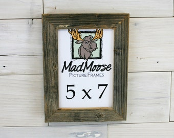 """5x7 Barn Wood [Chunky x 1.25""""]  Picture Frame . . . (aka distressed old rustic gray barnwood 5 x 7 photo frame - shabby chic)"""