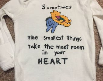 "Winnie the Pooh 0-3m Onesie- Hand Painted, Long Sleeved- ""The smallest things take the most room in your heart"""