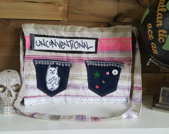 Handmade upcycled unconventional messenger bag