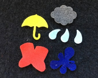 Rainy Day Felt Shapes-Umbrella-Rain Boot-Cloud-Raindrops-Costume Embellishments-Bible Journaling-Planner Accessories-Kids Crafts