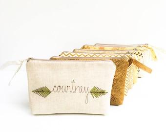 Bridesmaid Cosmetic Bag, Wedding Party Gifts, Greenery, Gold, Wedding, Bridesmaid Proposal Gift, Will You Be My Bridesmaid, Makeup Bags