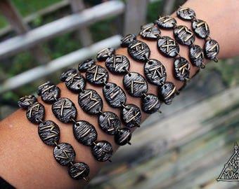 Elder Futhark Rune Bracelet [Loki, Alu, Freyja, Thor, Forest, Magic, Odin, Earth, Hel]