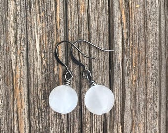 Selenite Crystal Rounds . Earrings
