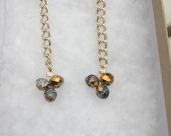 Crystal Dangle Earrings, Handmade Crystal Earrings, Sterling Silver Chain Earrings, Contemporary Earrings, Edinburgh Jewellery