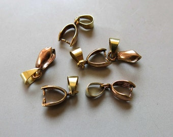 50pcs Raw Brass Bail For Pendant Findings 12.5mm x 6.5mm- F293