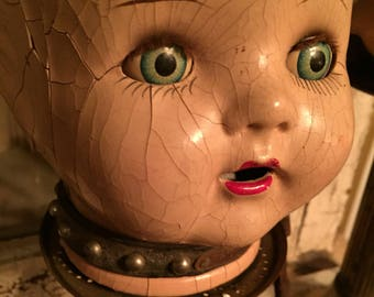 Wonderful early antique upcycled doll! All repurposed materials! One of a kind folk art collectable!