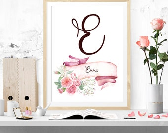 Initial floral print, DIGITAL DOWNLOAD, monogram print, nursery print, printable art,nursery monogram
