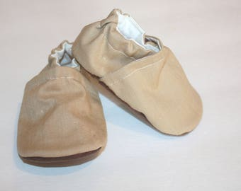 tan baby shoes khaki baby shoes tan shoes baby booties classic linen baby shoes waterproof shoes vegan shoes indoor shoes gender neutral