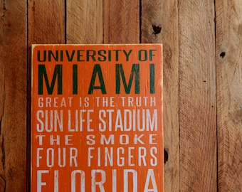 University of Miami Hurricanes Distressed Wood Sign--Great Father's Day Gift!