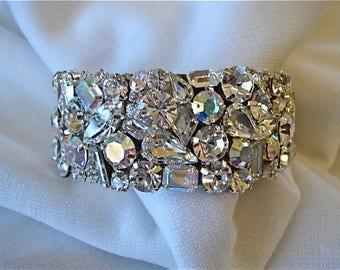 Clear Swarovski Crystal Wedding Cuff Bracelet, bridal bracelet, clear crystal cuff, statement cuff, bridal bracelet, mother of the bride