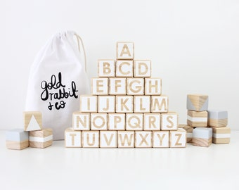 Wooden alphabet blocks - white + grey