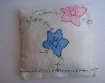 Lavender Sachet Vintage Embroidered Fabric