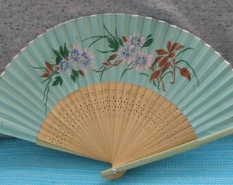 Vintage Japanese Hand Painted Satin Fan, Hand Held Fan, 1950's, Made in Japan, Floral Motif, Folding Fan