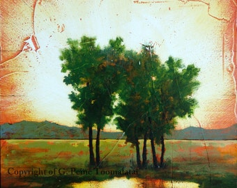 "Tree oil painting Tree Landscape original oil painting ""Newness of Life"" Water painting wood panel Toomalatai fine oil paintings"