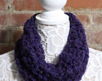 Textured Cowl Neck Scarf - Dark Purple
