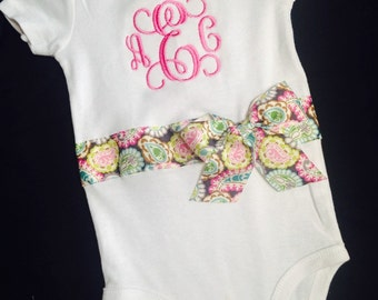 Baby Girl Monogrammed onesie; Newborn Layette; gift idea for newborn; baby shower gift; newborn pictures; take home outfit; ribbon and bow