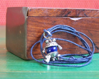 Necklace children frog stoneware blue and silver metal