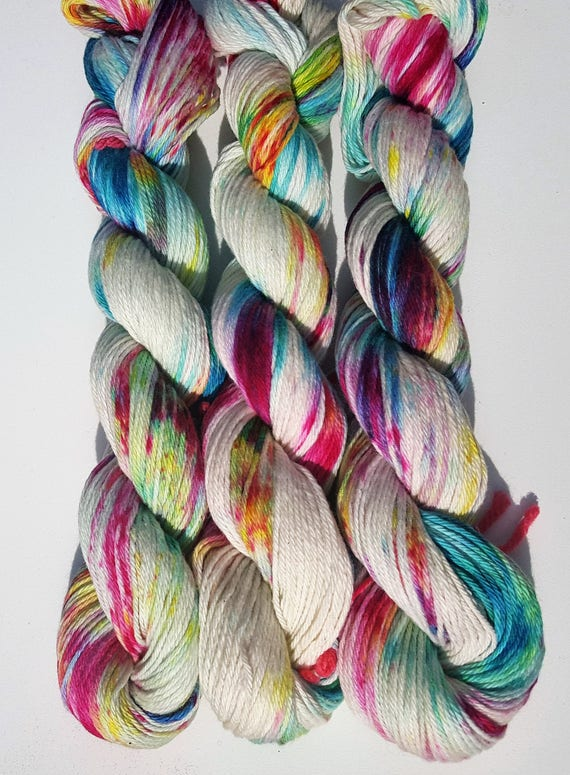 Carnival- 100 Cotton, Hand Dyed, Speckled, Variegated, Hand Painted Yarn