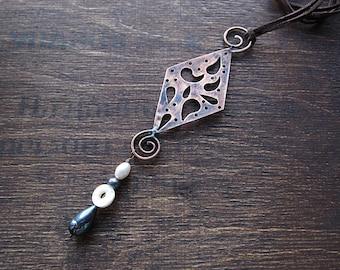 Large Copper Pearl Statement Pendant, Boho Rustic Earthy Ethnic Pendant, Chunky Pendant, Abstract Artisan Metalwork Pendant, Birthday Gift